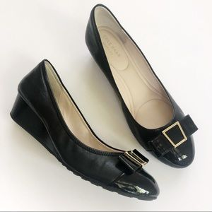 NEW✨Cole Haan Emory Bow Black Leather Wedge 9.5
